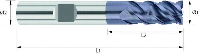 Frez trzpieniowy pełnowęglikowy VHM TSC, stalowy, HA, HB, Varocon
