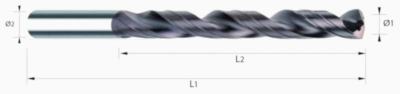 Wiertło spiralne z chłodzeniem, 4-łysinki, 8xD, HB, VHM TIALN