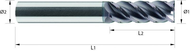 Frez pełnowęglikowy długi, HA, HB, bez pokrycia