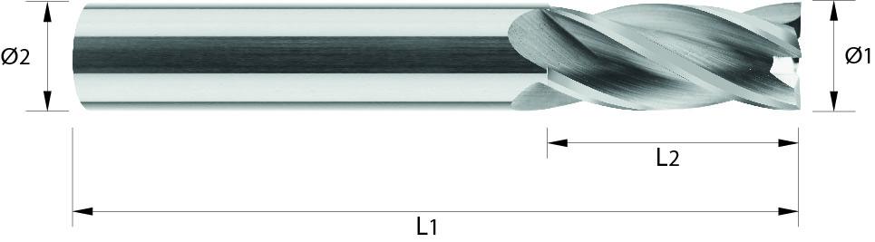 Frez pełnowęglikowy do metali nieżelaznych VHM, HA, HB, bez pokrycia