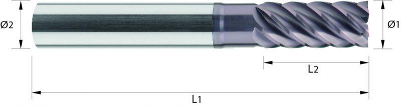 Frez pełnowęglikowy DIN6527 VHM, HA, HB, Nacoblue