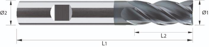 Frez, długi, zmienna podziałka, faza naroża, Z-4, HB, HPC, INOX, VHM VAROCON (558)