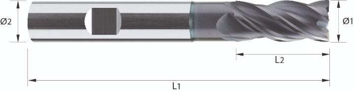 Frez trzpieniowy, długi, faza naroża, Z-4, HA, HB, HPC, < 44 HRC, INOX, VHM TiALN (508)