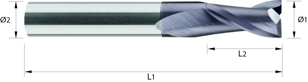 Frez trzpieniowy, długi, Z-2, HB, 44 HRC, ALUMINIUM, INOX, VHM TiALN / bez pokrycia (500)