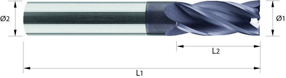 Frez do kopiowania, długi,Z-4, HB, 44 HRC, ALUMINIUM, INOX, VHM TiALN (502)