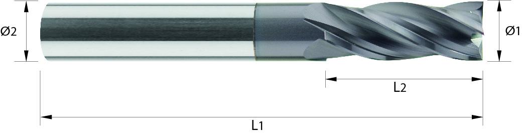 Frez trzpieniowy, Z-4, do 65 HRC, HA, VHM ALTIN (408)