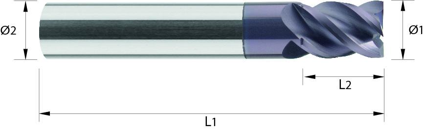 Frez trzpieniowy, uniwersalny, Z-4, HB, VHM TiALN (511)