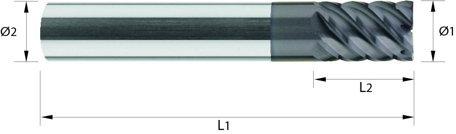 Frez trzpieniowy, krótki, z-6 >8, 65 HRC, MULTICUT VHM TiALN (412)
