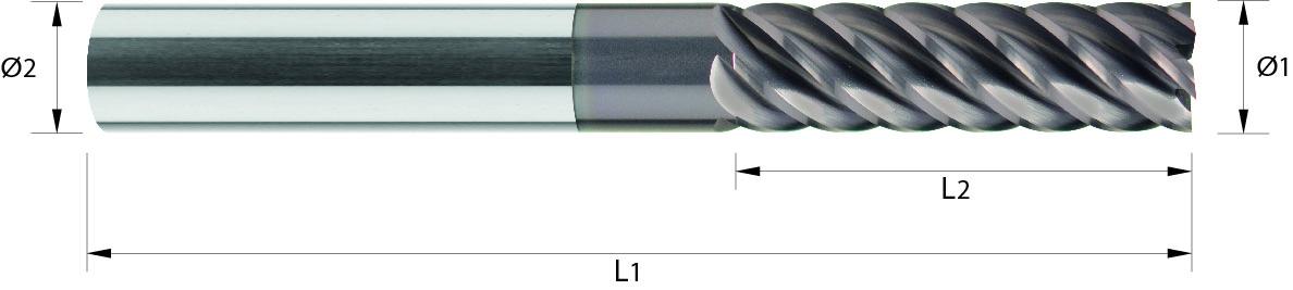 Frez trzpieniowy, bardzo długi, Z 6-8, HB, 32 HRC, MULTICUT VHM TiALN (415)