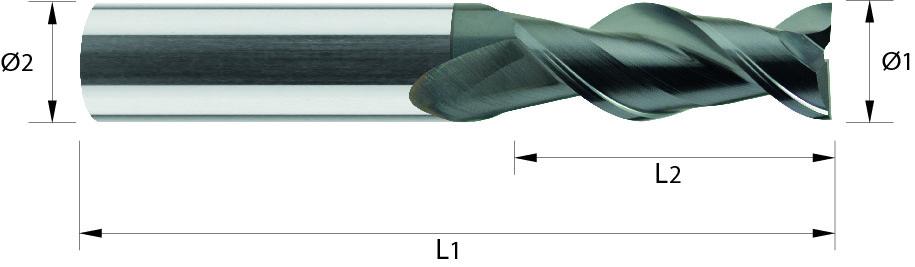 Frez trzpieniowy, Z-2, wydłużony, ALUMINIUM, TWORZYWA, VHM DLC (601)