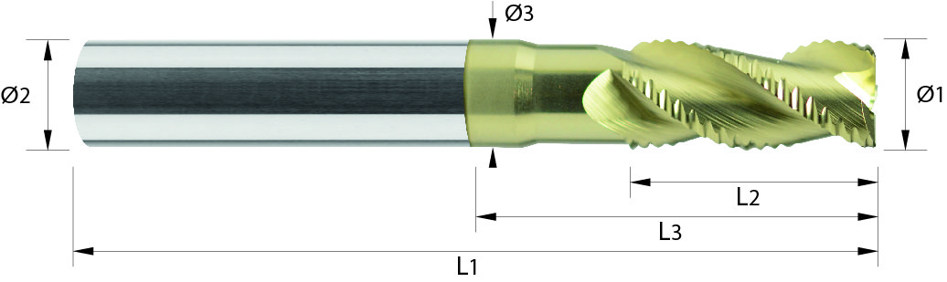 Frez trzpieniowy, Z-3, z łamaczem wióra TYP-WF, faza na narożu, HPC, ALUMINIUM, TWORZYWA, PRIMUS, VHM Ta-C (647)