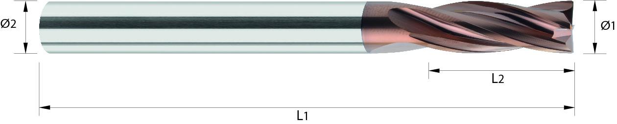 Frez trzpieniowy, faza naroża, Z-4 , HA, HB, HPC, INOX, Fightmax INOX, 1- WYBÓR VHM DUOCON (425)