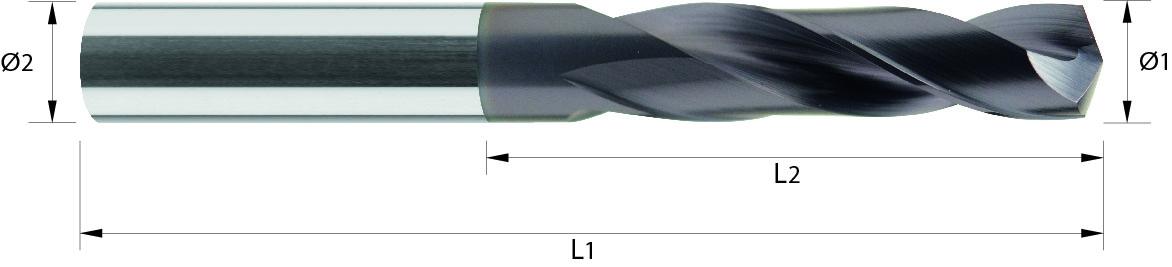 Wiertło, extra krótkie,TYTAN, INOX, 44 HRC VHM (102)