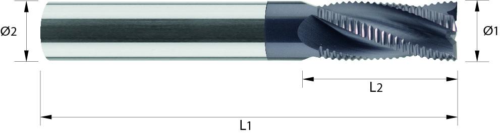 Frez do obróbki zgrubnej, łamacz wióra, faza naroża, typ NR, Z-4, faza na narożu, długi, HPC, 44 HRC, ALUMINIUM, VHM TiALN (516)