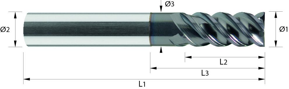 Frez trzpieniowy, Hardmax, faza naroża, Z-3, Z-4, HPC, 65 HRC, 1-WYBÓR, VHM ALTiN (429)