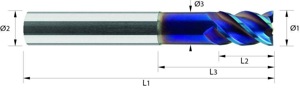 Frez krótki, trzpieniowy, Z-4, PrimeLine, HSC, 65 HRC, VHM NACOBLUE (430)