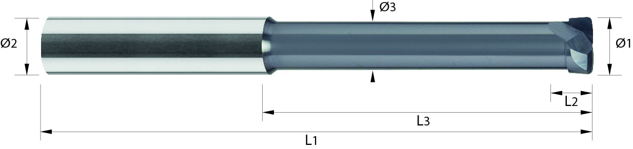 Frez do kopiowania, długi, Z-2, z promieniem naroża, HSC, 60 HRC, STIRNTORUS, VHM ALTiN (434)