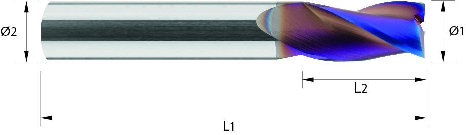 Frez trzpieniowy, krótki, Z-3, 44HRC, INOX, ALUMINIUM, VHM NACO BLUE (492)