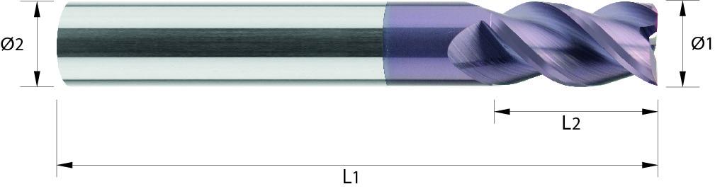 Frez trzpieniowy, Z-3, HA, 44 HRC, INOX, ALUMINIUM, TWORZYWA, VHM TiALN / bez pokrycia (522)