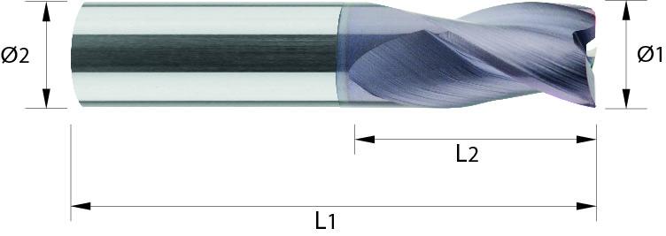 Frez trzpieniowy, bardzo krótki, Z-3, HB, 44 HRC, ALUMINIUM, INOX, VHM TiALN (523)