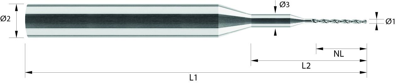 Wiertło mini, od Ø 0,1 mm, 44 HRC, ALUMINIUM, INOX, TWORZYWA, VHM NANOSIT / bez pokrycia (107)