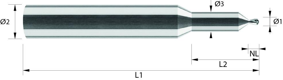 Wiertło stopniowe, mikro, od Ø 0,1 mm, z fazownikiem 90°, < 44 HRC, ALUMINIUM, INOX, VHM (109)