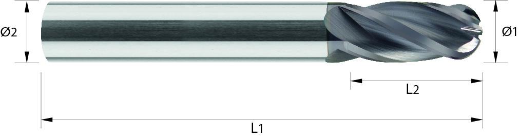 Frez kulowy, długi, Z-4, HB, 55 HRC, INOX, ALUMINIUM, HSC, VHM TiALN / bez pokrycia (526)