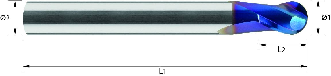 Frez kulowy, Z-2, HA, 65 HRC, HSC, Dynastar VHM NACO BLUE (444)