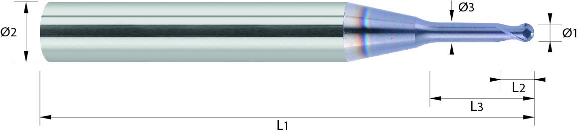 Frez kulowy, od Ø 0,2 mm, Z-2, HA, HSC, 52-65 HRC, 1-WYBÓR VHM VAROCON (446)