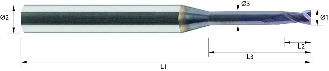 Minifrez trzpieniowy, Z-2, HA, HSC, 65 HRC, VHM TiALN (532)