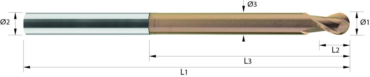 Frez trzpieniowy mini, kula , z obniżeniem, ALUMINIUM, HSC, VHM TiALCN / bez pokrycia (450)