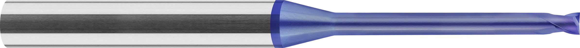 Frez trzpieniowy, micro od Ø 0,1 mm, obniżony, Z-2, HA, HSC, 65 HRC, 1-WYBÓR, VHM NANOCON (455)