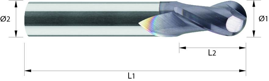 Frez kula, krótki,Z-2, HA, HSC, 65 HRC, VHM TiALN (467)