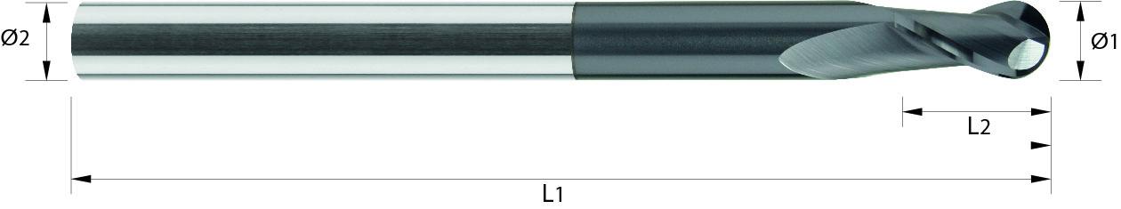 Frez kulowy, długi, Z-2, HA, 65 HRC, PrimeLine VHM ALTiN (468)