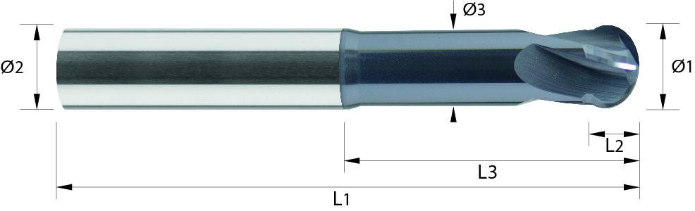 Frez kulowy, 220°, długi, Z-4, HA, 65 HRC, VHM ALTiN (470)
