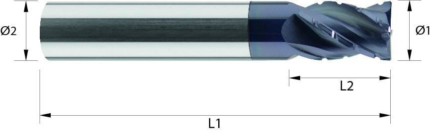 Frez do obróbki zgrubnej, łamacz Typ NF, faza naroża, Z-4, 44-HRC, INOX, TYTAN, HPC, STARMAX, VHM ALTiN (471)