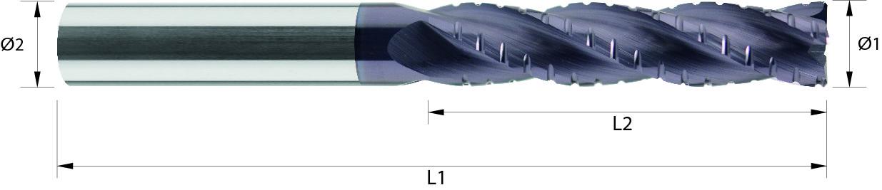 Frez do obróbki zgrubnej, łamacz Typ NF, bardzo długi, faza naroża, Z-4, 44-HRC, INOX, HPC, STARMAX, VHM TiALN (472)