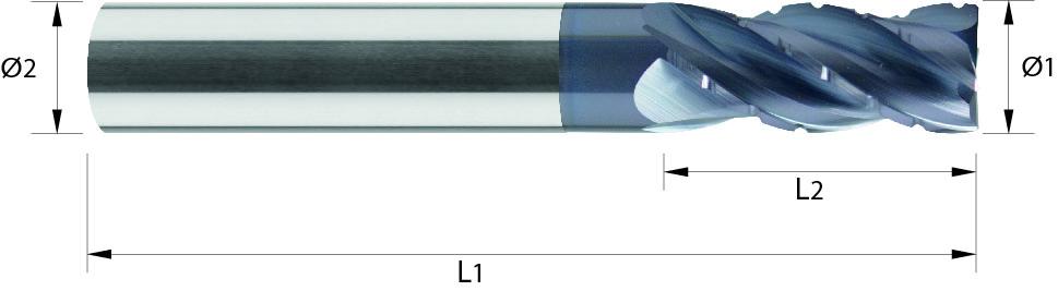 Frez do obróbki zgrubnej, łamacz Typ NF, długi, faza na narożu, Z-4, HB, HPC, 44 HRC, INOX, TYTAN, STARMAX, VHM ALTiN (473)