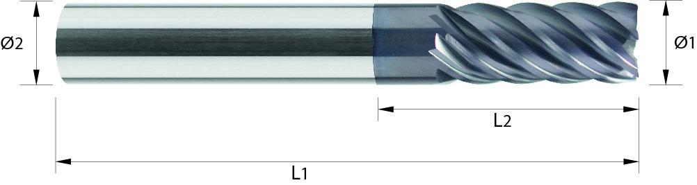 Frez 40/42°, długi, Z-5, Z-6, HA, 44 HRC, INOX, TYTAN, HPC, Starmax Super Finish VHM ALTiN (481)