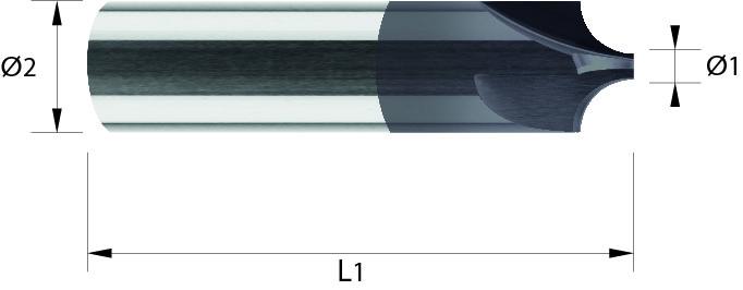 Frez ćwierć wałek, 44 HRC, INOX, ALUMINIUM, VHM TiALN / bez pokrycia (714)