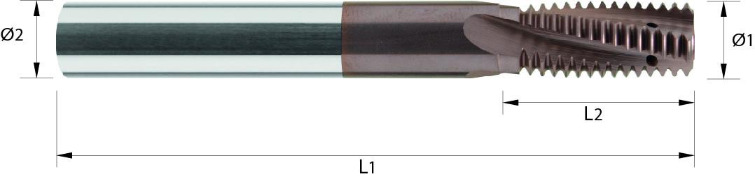 Frez do gwintów, skrętny, chłodzenie w rowkach wiórowych, skok 1-2 + calowe G, 32 HRC, INOX, ALUMINIUM VHM TIALCN (723)
