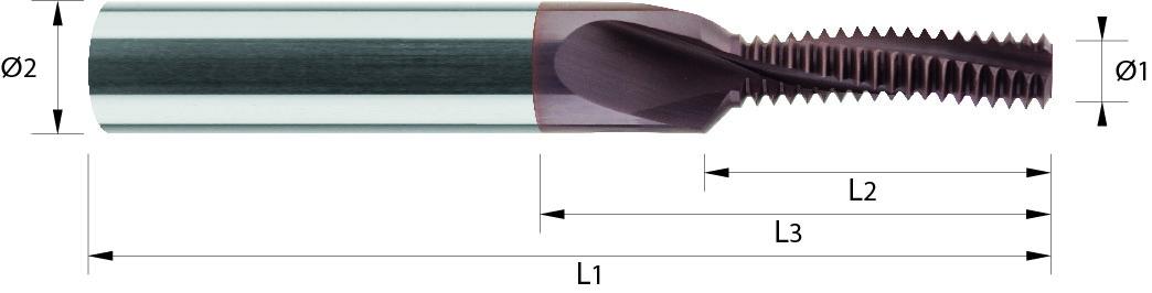 MiniFrez do gwintów wewnętrznych, M-3 > M-12 VHM TIALCN (725)