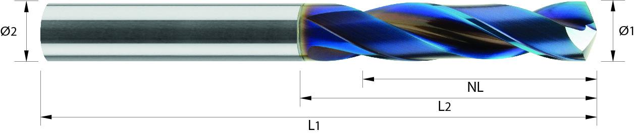 Wiertło wysokowydajne, 4xD, HA, HB, HPC ,45-65 HRC, VHM naco blue (121)