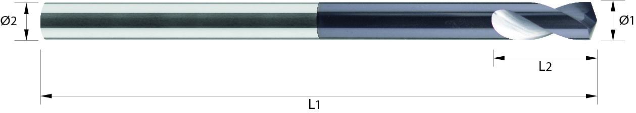 Nawiertak długi, NC, 142°, 44 HRC,TYTAN, INOX, VHM TiALN (718)