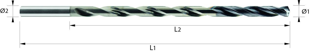 Wiertło spiralne 15xD, z chłodzeniem, 4 łysinki, h7, 44 HRC, INOX, ALUMINIUM, TWORZYWA, VHM VAROCON (491)