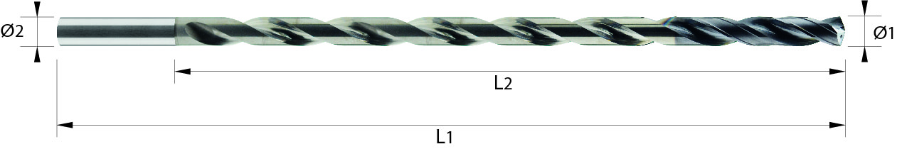 Wiertło spiralne 20xD, z chłodzeniem, 4 łysinki, h7, 44 HRC, INOX, ALUMINIUM, TWORZYWA, VHM VAROCON (129)
