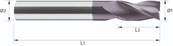 Frez, długi, Z-3, HA, HB, uniwersalny, ECO- LINE, VHM TiALN (557)