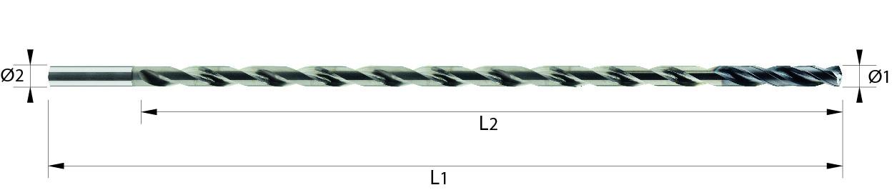 Wiertło spiralne 30xD, z chłodzeniem, 4 łysinki, h7, 44 HRC, INOX, ALUMINIUM, TWORZYWA, VHM VAROCON (131)