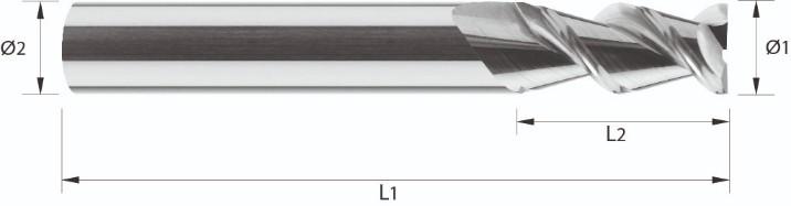 Frez, bardzo krótki, Z-2, HA, HB, Aluminium, ECO-LINE, VHM bez pokrycia (542)