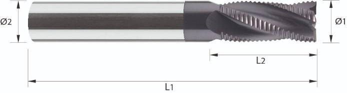 Frez, długi, Z- 3 >4 , łamacz wióra typu-HR, HA, HB, ECO-LINE, VHM TiALN (556)